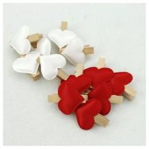Mini pinzas de madera corazón acolchado