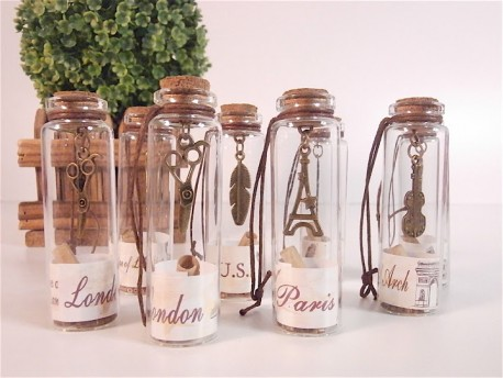 Mini frascos de cristal con mensaje