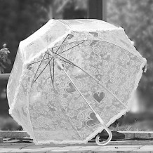 Paraguas de copa con encaje