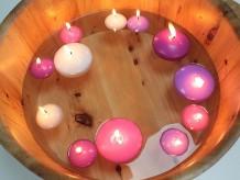 Velas flotantes lila